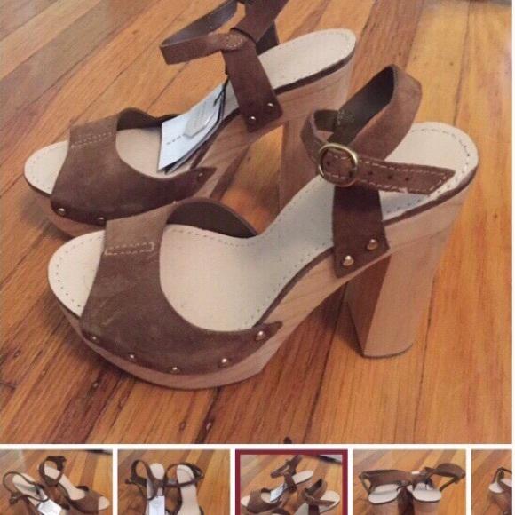 Nwt Zara Suede Wood Platform Sandals 6 36 Womens Nwt